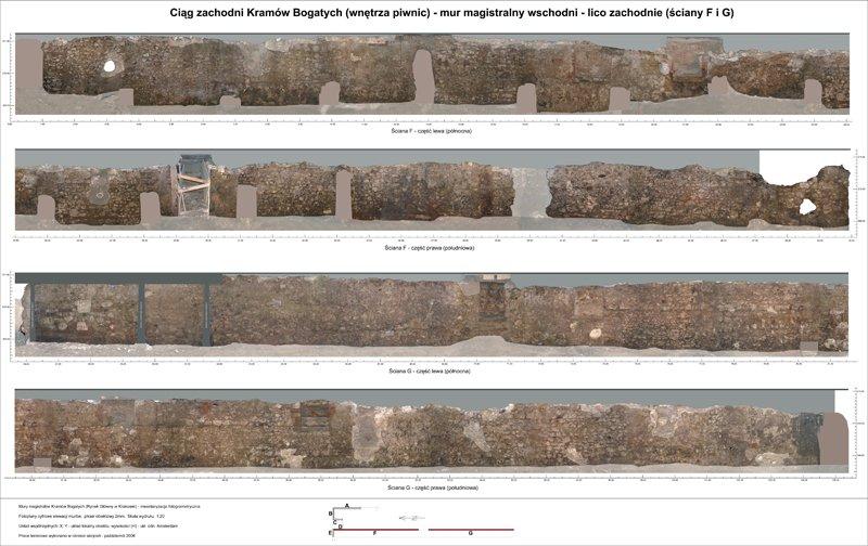 Kraków, relikty murów magistralnych Kramów Bogatych